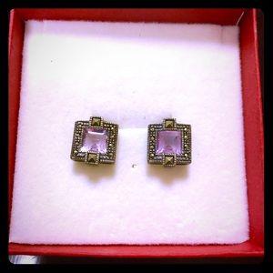 3 for $15 -Faux Amethyst & Marcasite Stud Earrings